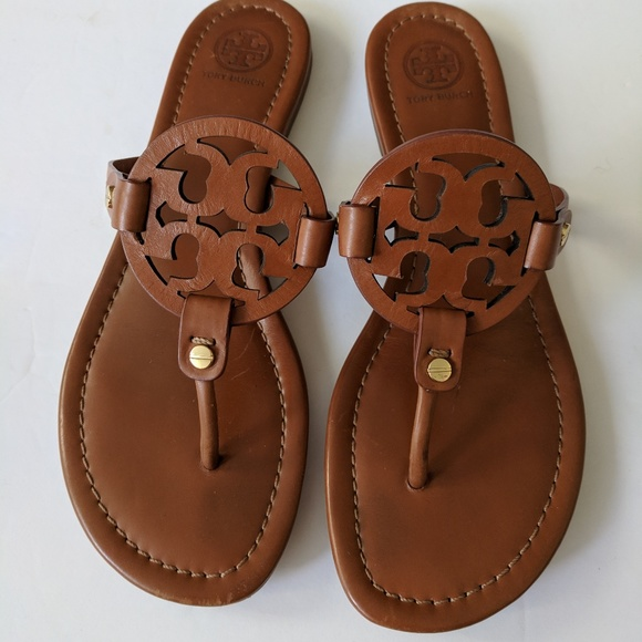 1706c2a9a779 Tory Burch Brown Leather Logo Miller Sandals. M 5c7da1ad1b3294736bf889a2